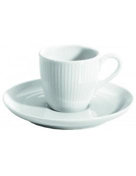 Paire tasse et soucoupe à café en porcelaine Plissé
