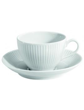 Paire tasse et soucoupe à déjeuner en porcelaine Plissé