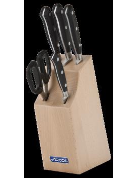 Bloc 4 couteaux + ciseaux série Riviera