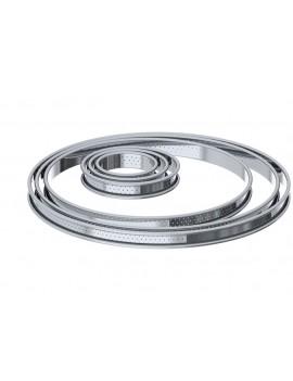 Cercle à tarte inox perforé H 2 cm bord roulé