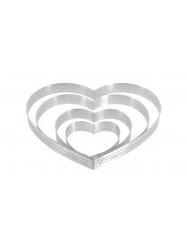 Cercle à tarte perforé Valrhona à bord droit inox H 2 cm - coeur De Buyer