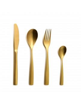 Set de couverts BCN Colors Oro Inox 18/0 - Couteau - Fourchette - Cuillère - Cuillère à café COMAS