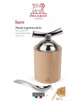 Peugeot de graines de lin MOULIN Isen 13 cm bois avec cuillères-Mesure et brosse de nettoyage