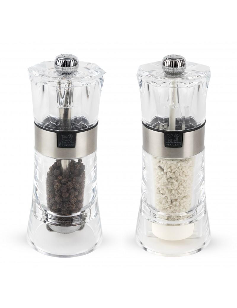 Oslo Duo de moulins à poivre et à sel humide manuels en acryl 14 cm - Peugeot
