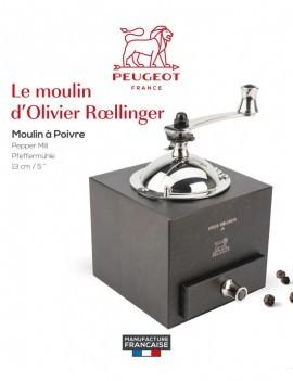 Roellinger Moulin à poivre manuel en bois couleur chocolat 13 cm - Peugeot