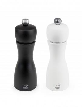 Tahiti Duo de moulins à poivre et à sel manuels en bois couleur noir et blanc 15 cm - Peugeot