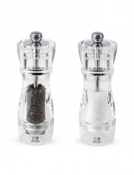 Vittel Duo de moulins à poivre et à sel manuels en acryl 16 cm - Peugeot