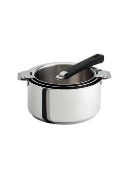 Série 3 casseroles amovibles 16 à 20 cm + 1 poignée Mutine noire