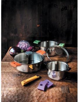 Série 3 casseroles amovibles 16 à 20 cm + 1 poignée Mutine noire CRISTEL