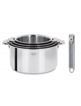 Série 4 casseroles amovibles 14 à 20 cm Casteline + 2 poignées CRISTEL