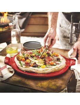 Coffret Pizza stone lisse Rouge Grand Cru 37 cm en céramique EMILE HENRY