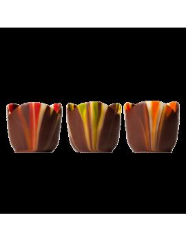 Coupes Petits Fours en chocolat marbrées pastel